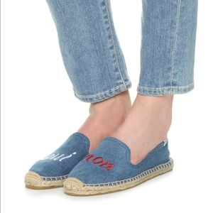 Soludos Oui Non Yes No Denim Espadrille Flat Shoes